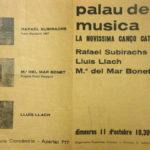 """Programa de mà del concert al Palau de la Música Catalana on es presentà la """"Novíssima Cançó"""", l'11 d'octubre del 1967"""