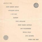 Programa de mà del I Festival de la Nova Cançó a l'Hotel Jaume I organitzat per les Juventudes Musicales, el 26 de juny del 1965 (revers).
