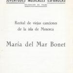 Programa de mà del primer recital en solitari de Maria del Mar Bonet, el 4 de desembre de 1965 a l'Hotel Jaume I de Palma