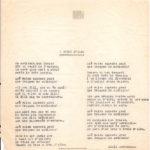"""Lletra mecanografiada de """"Què volen aquesta gent?"""" d'abans de 1968, amb el títol original """"A trenc d'alba""""."""