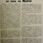 """Notícia del diari """"La Prensa"""" del 31/01/67 sobre la mort de l'estudiant Rafael Guijarro durant un escorcoll de la policia franquista a casa seva, motiu pel qual Lluís Serrahima escriu la lletra de la cançó """"Què volen aquesta gent?"""" a la qual Maria del Mar Bonet hi posa música."""