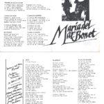 Full de mà del concert de Maria del Mar Bonet al Palau de la Música Catalana el 16 d'abril del 1975