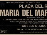 """Anunci del diari del concert """"Anells d'aigua"""" de la Plaça del Rei, estiu 1985"""