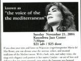 Full de mà del concert de Maria del Mar Bonet al Kuumbwa Jazz Center de la ciutat de Santa Cruz, EEUU, del 21 de novembre del 2004