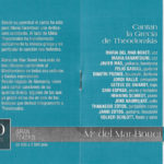 """Interior del programa de mà del concert """"Canten la Grècia de Theodorakis"""" de Maria del Mar Bonet i Maria Farantouri al Festival de Córdova el dia 10 de juliol del 2001"""
