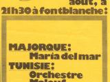 Programa de mà dell Premières Rencontres Musicales Mediterranéennes a Fontblanche, França, l'any 1976 on Maria del Mar Bonet conegué els músics de Tunisia amb qui col·laborà posteriorment en moltes ocasions