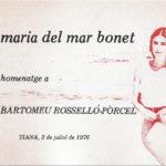Programa de mà del concert homenatge de Maria del Mar Bonet a Bartomeu Rosselló-Pòrcel del 3 de juliol del 1976