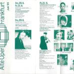 Interior del programa de mà del Alter Oper Frankfurt del juny del 1985, Alemanya