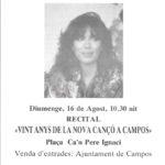 """Programa de mà del recital de Maria del Mar Bonet a Campos, Mallorca, el 16 d'agost del 1987, on presentà el disc """"Gavines i Dragons""""."""
