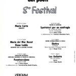 Interior del programa del 8è Festival del teatro Romano di Nora, Itàlia, on Maria del Mar bonet cantà junt amb Elena Ledda els dies 12, 13 i 14 de juliol del 1990