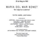 """Programa de mà del concert de presentació del disc """"Bon viatge faci la cadernera"""" a Palma, a l'Auditorium, amb tots els músics que van participar en la gravació del disc. El 28 de maig del 1990"""