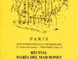 Full de mà del concert de Maria del Mar Bonet a París el 30 de gener del 1997
