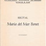 Programa de mà del concert de Maria del Mar Bonet a l'Auditorium de Palma que va omplir de gom a gom la sala Mozart, el dia 19 de març del 1970