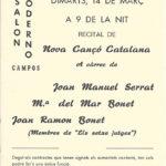 programa de mà del concert conjunt de Joan Manuel Serrat, Joan Ramon Bonet i Maria del Mar Bonet a Campos, Mallorca, el 14 de març de 1967