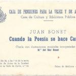 Full de mà de la conferència de Joan Bonet, pare, sobre la cançó francesa, el 22 d'abril del 1964 al Saló d'Actes de la Caja de Pensiones, on Maria del Mar Bonet l'acompanyà cantant tres cançons.