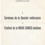 Programa de mà del I Festival de la Nova Cançó celebrat a l'Hotel Jaume I de Palma el 26 de juny del 1966 on Maria del Mar Bonet hi participà amb tres cançons de Menorca.
