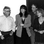 Raimon, Maria del Mar Bonet, Joan Manuel Serrat i Marina Rossell el 20 de juny de 1994, dia de l'Homenatge a Guillem d'Efak a l'Auditorium de Palma. (autor desconegut)