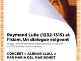 """Cartell del concert """"Alenar Llull"""" de Maria del Mar Bonet a l'Institut del Món Àrab de París, el dia 21 d'octubre del 2016, dins el marc d'unes jornades dedicades a Ramon Llull per commemorar el setè centenari de la seva mort"""